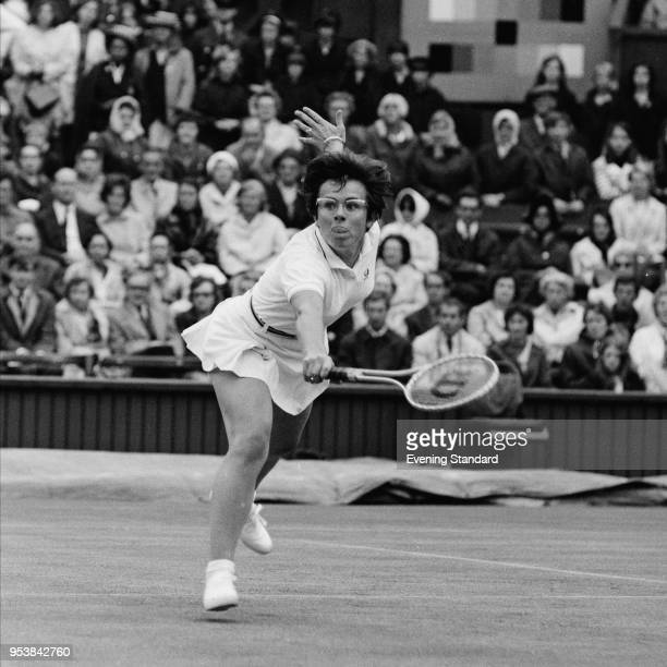 American tennis player Billie Jean King in action during Wimbledon Championships London UK 27th June 1968