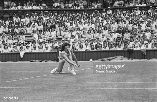 American tennis player Billie Jean King in play at the Wimbledon Championships in London, UK, 26th June 1973.