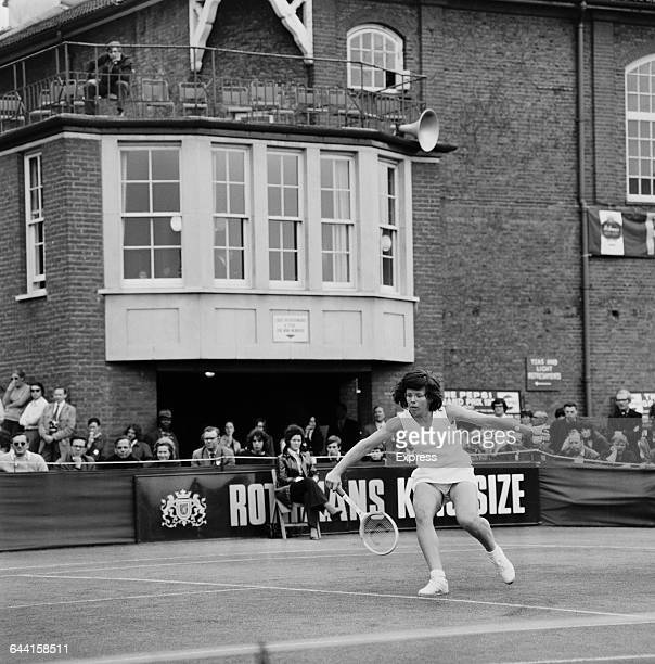 American tennis player Billie Jean King loses to Margaret Court in the Queen's Club tournament, London, UK, 19th June 1971.