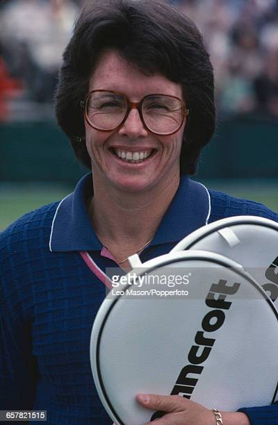 American tennis player Billie Jean King pictured holding a pair of Bancroft tennis rackets during competition to progress to reach the quarterfinals...