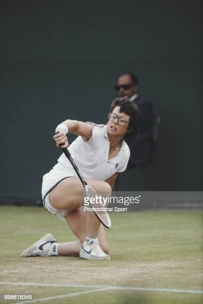 American tennis player Billie Jean King pictured in action competing to reach the quarterfinals of the Ladies' Singles tournament at the Wimbledon...