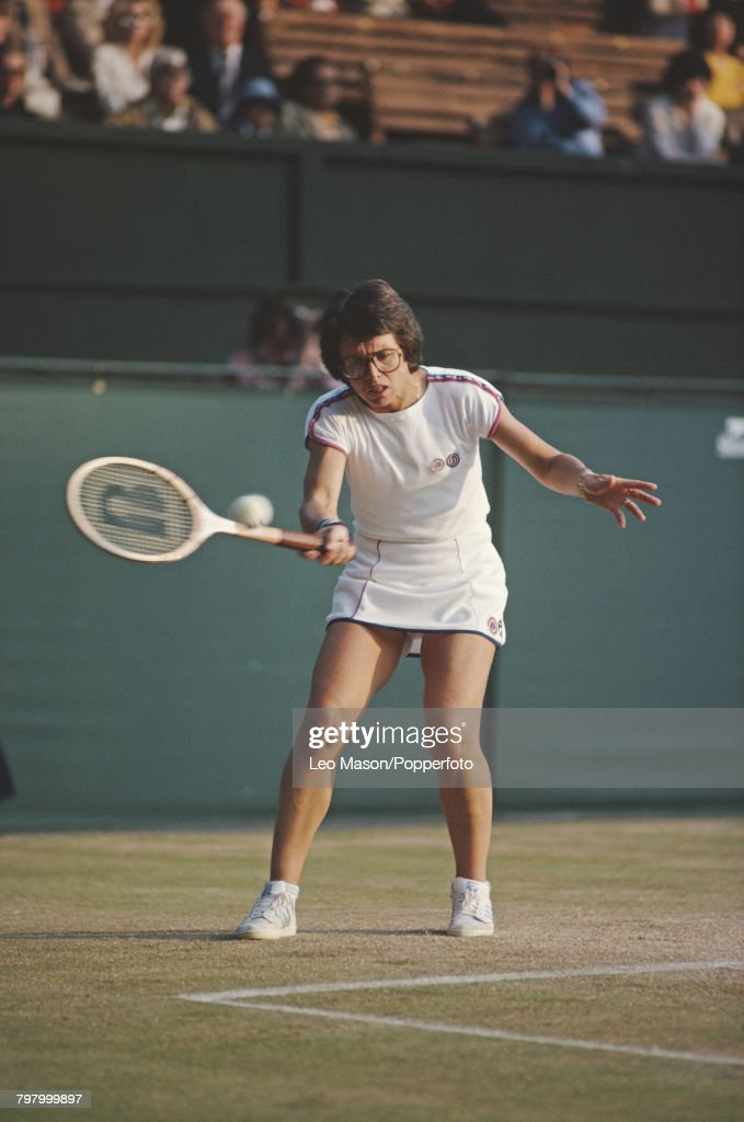 American tennis player Billie Jean King pictured in action competing to progress to reach the quarterfinals of the Women's Singles tournament at the Wimbledon Lawn Tennis Championships at the All England Lawn Tennis Club in Wimbledon, London in July 1979.