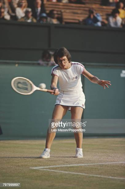 American tennis player Billie Jean King pictured in action competing to progress to reach the quarterfinals of the Women's Singles tournament at the...