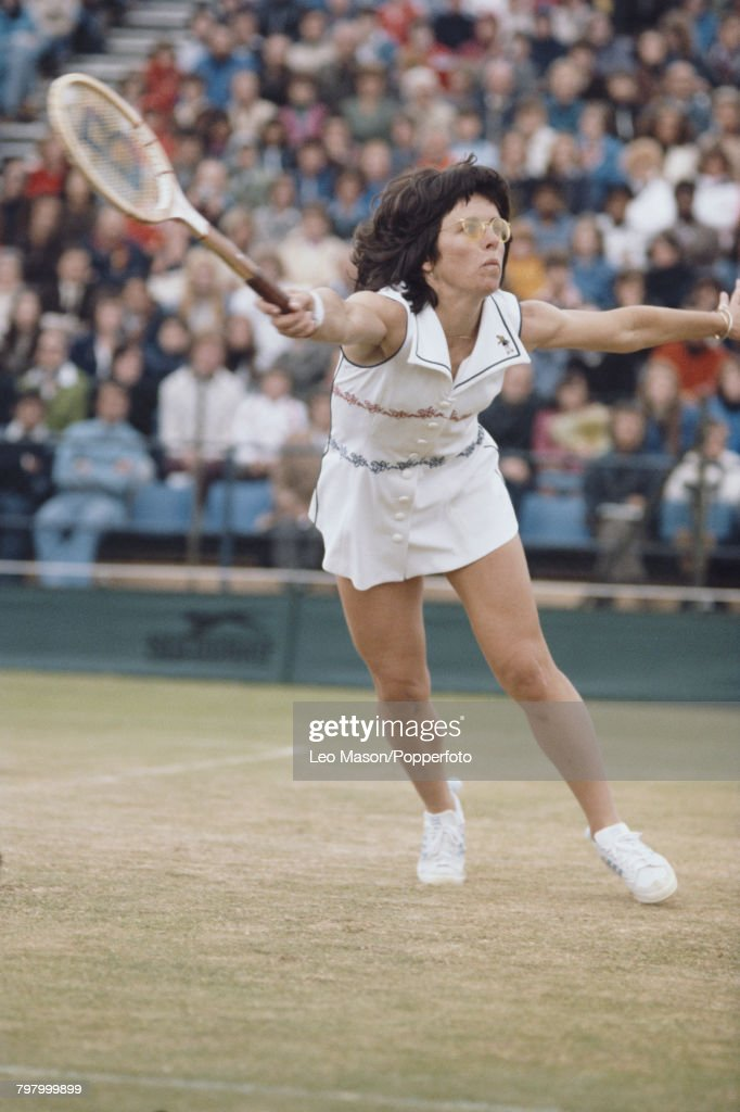 American tennis player Billie Jean King pictured in action competing to progress to reach the quarterfinals of the Women's Singles tournament at the Wimbledon Lawn Tennis Championships at the All England Lawn Tennis Club in Wimbledon, London in June 1977.