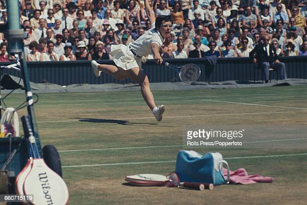 American tennis player Billie Jean King pictured in action during the final of the Ladies' Singles tournament at the Wimbledon Lawn Tennis...