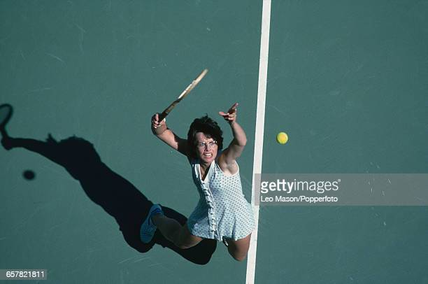 American tennis player Billie Jean King pictured in action during competition to progress, along with Martina Navratilova, to win the final of the...