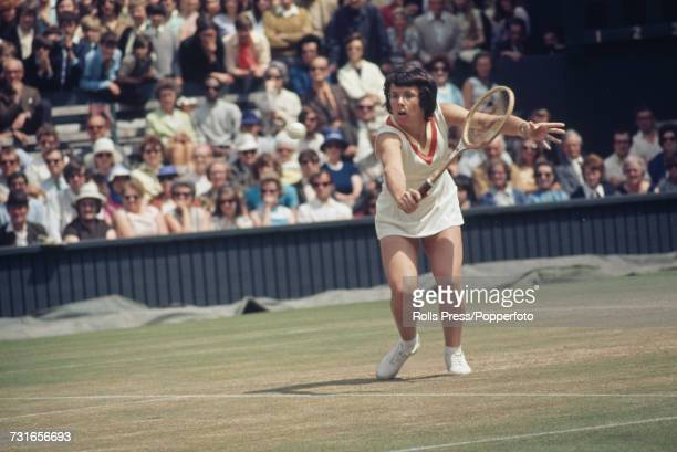 American tennis player Billie Jean King pictured in action during progress to reach the semifinals of the Ladies' Singles tournament at the Wimbledon...