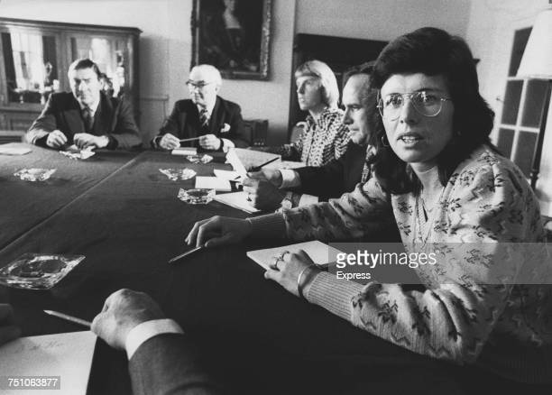 American tennis player Billie Jean King President of the Women's Tennis Association at a meeting with a committee of the the All England Lawn Tennis...