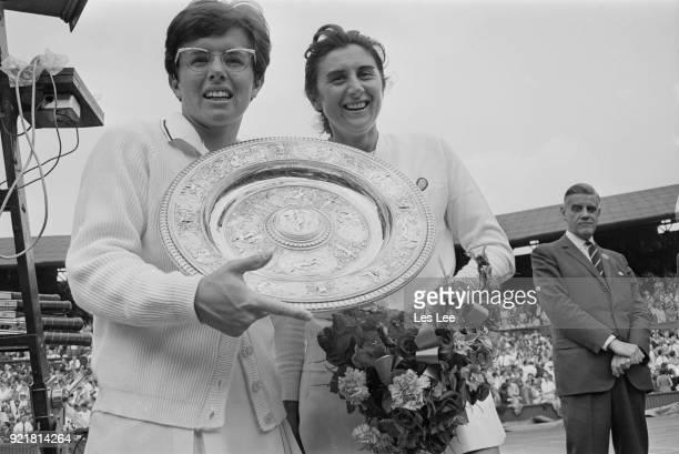 American tennis player Billie Jean King wins Women's Singles during Wimbledon Championships defeating Australian tennis player Judy Tegart London UK...