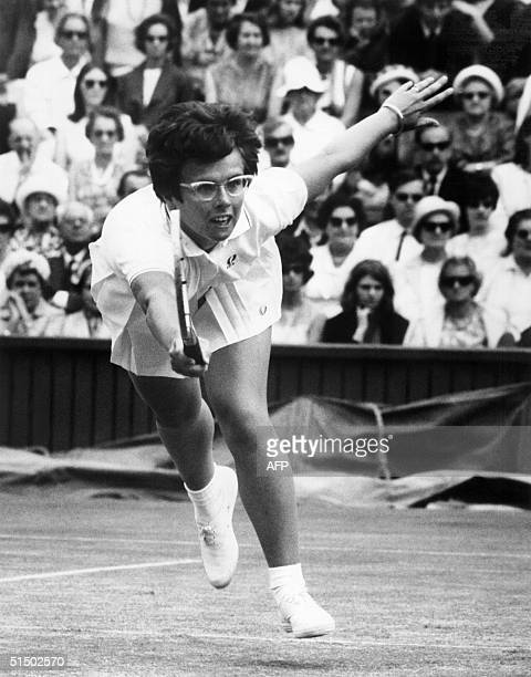 American tennis player Billie-Jean King returns a ball against compatriot Bartkowicz, 26 June 1967, during the Wimbledon championships. King won six...