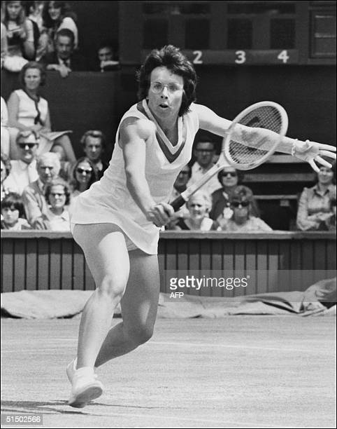 American tennis player Billie-Jean King returns a ball against Christine Janes, 27 June 1971, during the Wimbledon championships. King won six times...