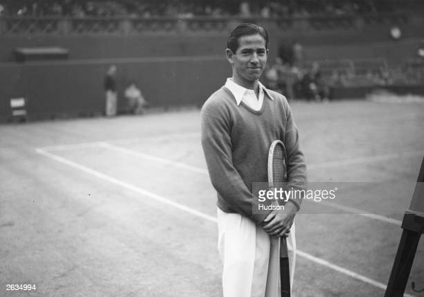 American tennis player Bobby Riggs at Wimbledon where he beat fellow American Elwood Cooke to win the men's singles title
