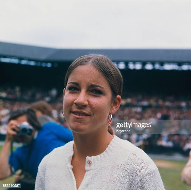 American tennis player Chris Evert at her semifinal match against Evonne Goolagong at The Championships Wimbledon London July1972 Goolagong won the...