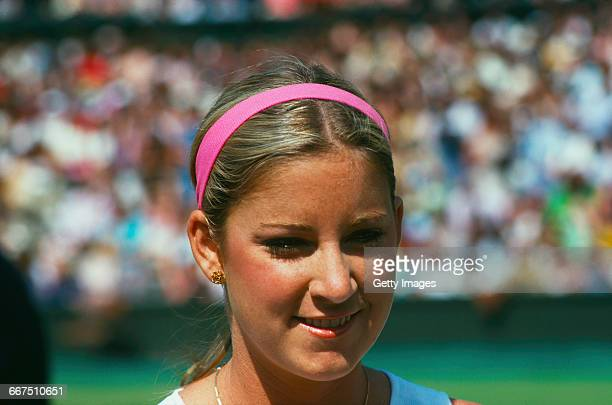 American tennis player Chris Evert at The Championships Wimbledon London June 1975