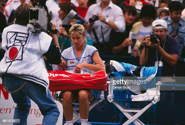 American tennis player Chris Evert at the US Open, held at the USTA National Tennis Center in New York City, August-September 1989. Evert retired...