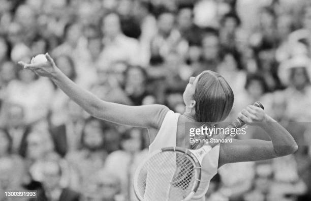 American tennis player Chris Evert during the 1972 Wimbledon Championships in London, UK, July 1972.