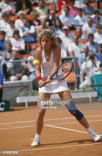 American tennis player Chris Evert in action at the 1986 Federation Cup held at I Czech Lawn Tennis Club Prague Czech Republic July 1986