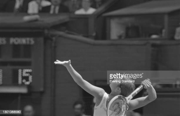 American tennis player Chris Evert in play at the Wimbledon Championships in London, UK, 4th July 1973.