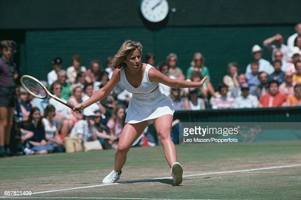 American tennis player Chris Evert pictured in action competing to progress to reach the semifinals of the Ladies' Singles tournament at the...