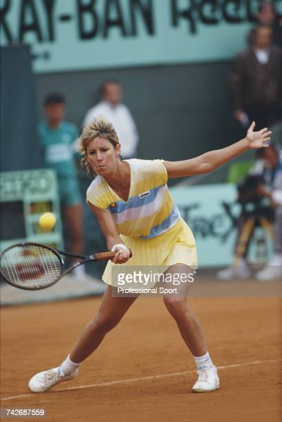 American tennis player Chris Evert pictured in action during progress to reach the semifinals of the Women's Singles tennis tournament at the 1987...