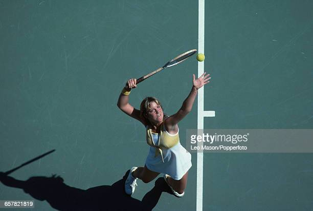 American tennis player Chris Evert pictured in action during competition to progress to win the final of the 1978 US Open Women's Singles tennis...