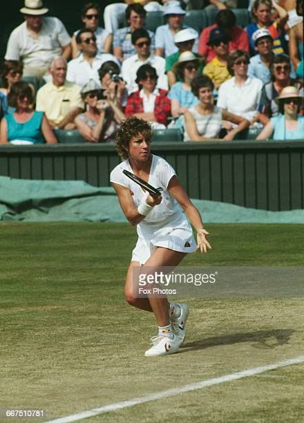 American tennis player Chris EvertLloyd competing against Kathy Rinaldi in the semifinals of the Women's Singles tournament at The Championships...
