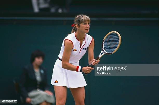 American tennis player Chris EvertLloyd competing against Pam Shriver in the semifinals of the Women's Singles tournament at The Championships...