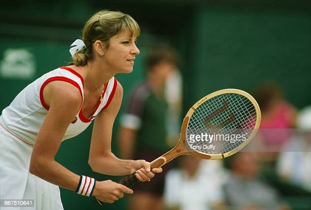 American tennis player Chris EvertLloyd competing at The Championships Wimbledon London JuneJuly 1982