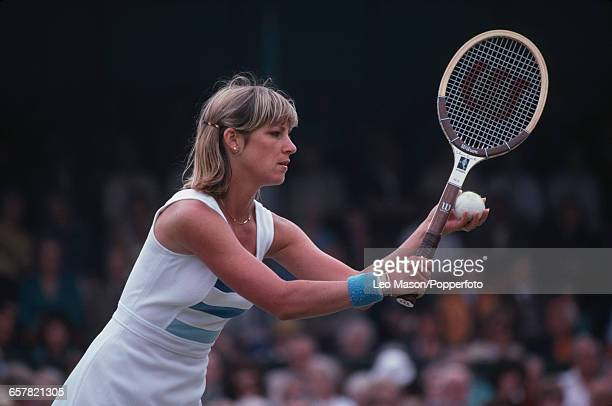 American tennis player Chris EvertLloyd pictured in action competing to progress to reach and win the final of the 1979 Colgate International Tennis...