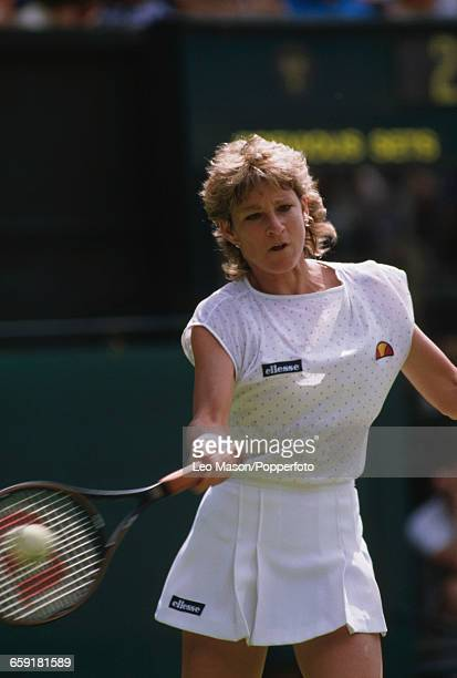 American tennis player Chris EvertLloyd pictured in action competing to progress to reach the final of the Ladies' Singles tournament at the...