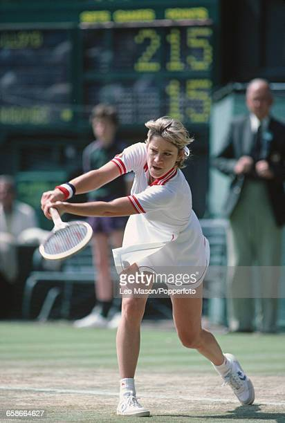 American tennis player Chris EvertLloyd pictured in action during competition to progress to win the final of the Women's Singles tournament at the...