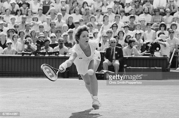 American tennis player Chris EvertLloyd pictured in action to lose the final of the Women's Singles tournament against fellow American tennis player...