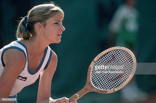 American tennis player Chris EvertLloyd prepares to return serve during the French Open