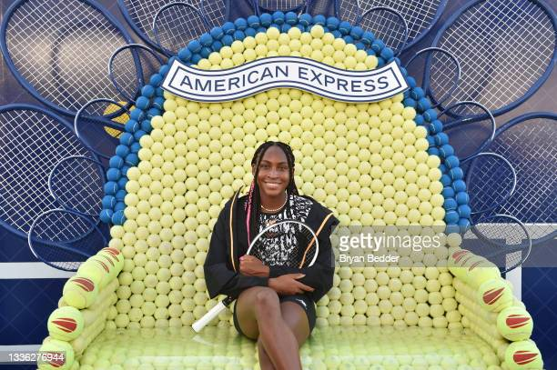 American tennis player Coco Gauff attends as the American Express Courts are unveiled ahead of 2021 US Open Tennis Tournament at Hudson River Park's...