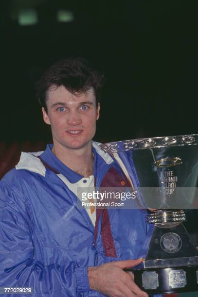 American tennis player David Wheaton pictured holding the trophy after beating Michael Chang 75 62 64 in the final of the 1991 Compaq Grand Slam Cup...