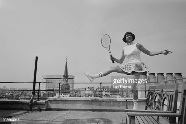 American tennis player Gertrude Gussie Moran modelling tennis dress at Simpsons of Piccadilly London UK 17th June 1968