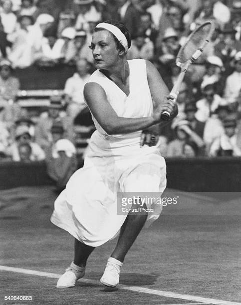 American tennis player Helen Jacobs competing at the Wimbledon Lawn Tennis Championships London 1933