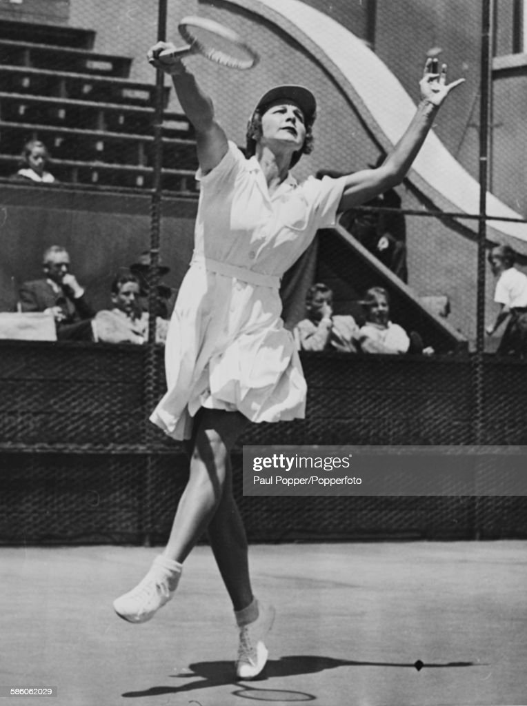 American tennis player Helen Wills in action during a practice session at the California Tennis Club in San Francisco, June 11th 1941.