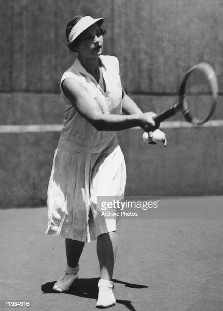 American tennis player Helen Wills Moody in action circa 1930
