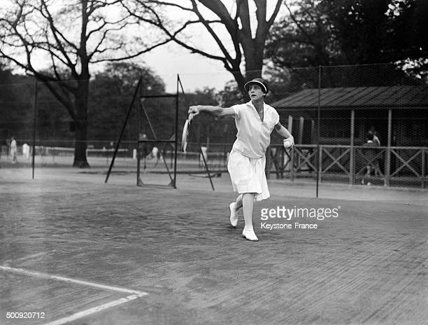 American tennis player Helen Wills training in 1927 in Paris France
