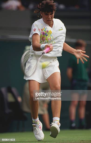 American tennis player Jennifer Capriati pictured in action during progress to reach the fourth round of the Ladies' Singles tournament at the...