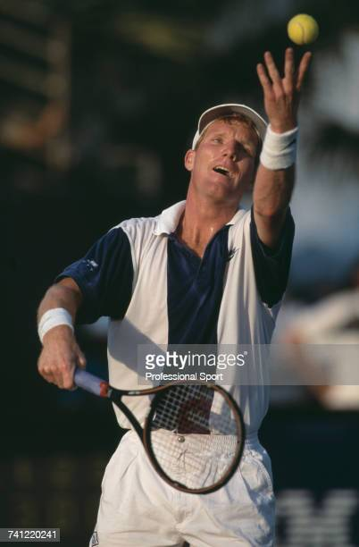 American tennis player Jim Courier pictured in action during progress to reach the semifinals of the Men's Singles tennis tournament at the 1994...