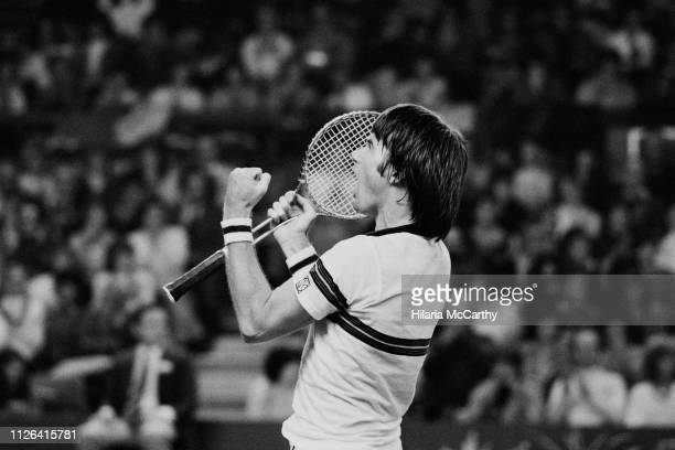 American tennis player Jimmy Connors during the final at Benson & Hedges Championships, Wembley Arena, London, UK, 16th November 1981.