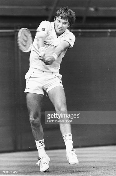 American tennis player Jimmy Connors in action at Wimbledon Tennis Championships London 1984
