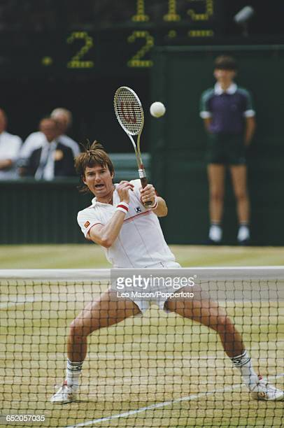 American tennis player Jimmy Connors pictured in action competing against John McEnroe in the final of the Men's Singles tournament at the Wimbledon...
