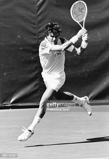American tennis player Jimmy Connors in action during a match at the US Open Tennis Championships at Flushing Meadow New York September 1991