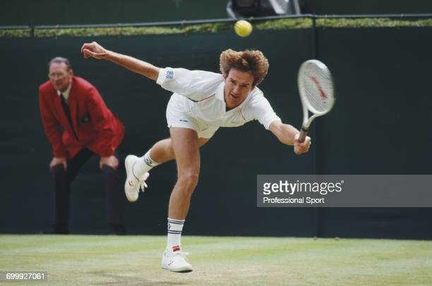 American tennis player Jimmy Connors pictured during competition to reach the final of the 1987 Stella Artois Championships singles tournament at the...