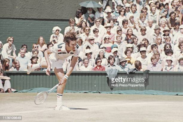 American tennis player Jimmy Connors pictured in action against Bjorn Borg of Sweden in the final of the Men's Singles tournament at the Wimbledon...