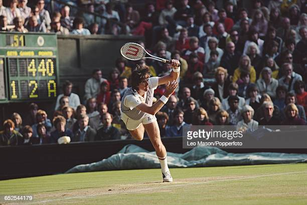 American tennis player Jimmy Connors pictured in action competing to reach the final and win the Men's Singles tournament against John McEnroe 36 63...