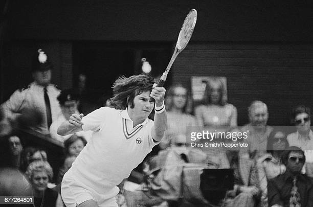 American tennis player Jimmy Connors pictured in action competing to be defeated in the final of the Men's Singles tournament by fellow American...